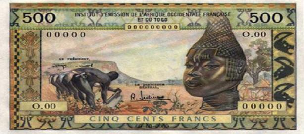 Le billet de 500 F, type 1874 est imprimé en noir sur fond crème.