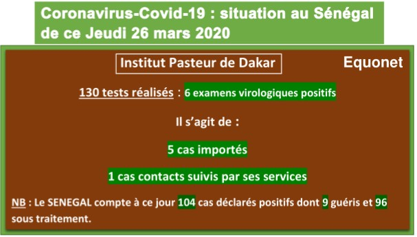 Coronavirus-Covid 19 : point de situation au Sénégal du jeudi 26 mars 2020