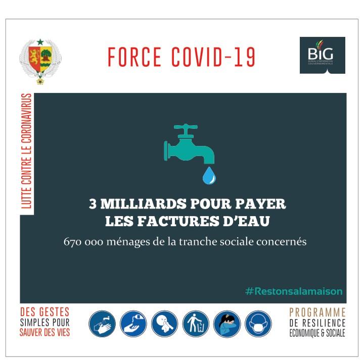 force covid-19-sénégal : 3 milliards pour payer les factures d'eau