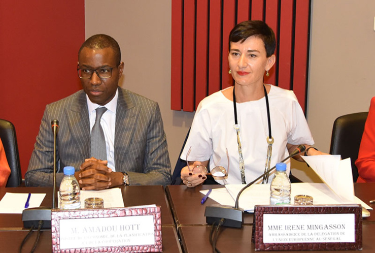 Irène Mingasson, ambassadrice de l'Union européenne au Sénégal, en compagnie du Ministre de l'Economie, Amadou Hott.