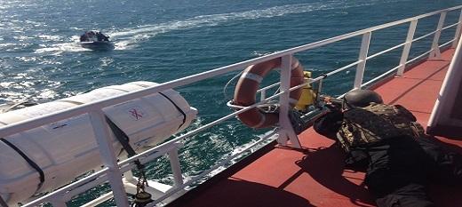 Le bâteau de gestion des incidents en mer mouille au large du Cap-Vert.
