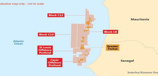 Cette carte indique les points où sont découverts le gaz et le pétrole au Sénégal.