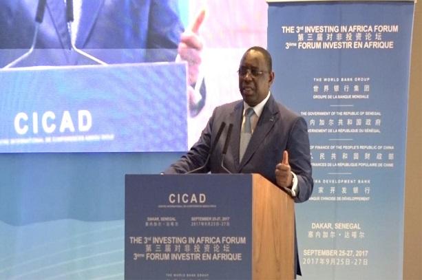 Macky Sall ouvrant les travaux du forum investir en Afrique.