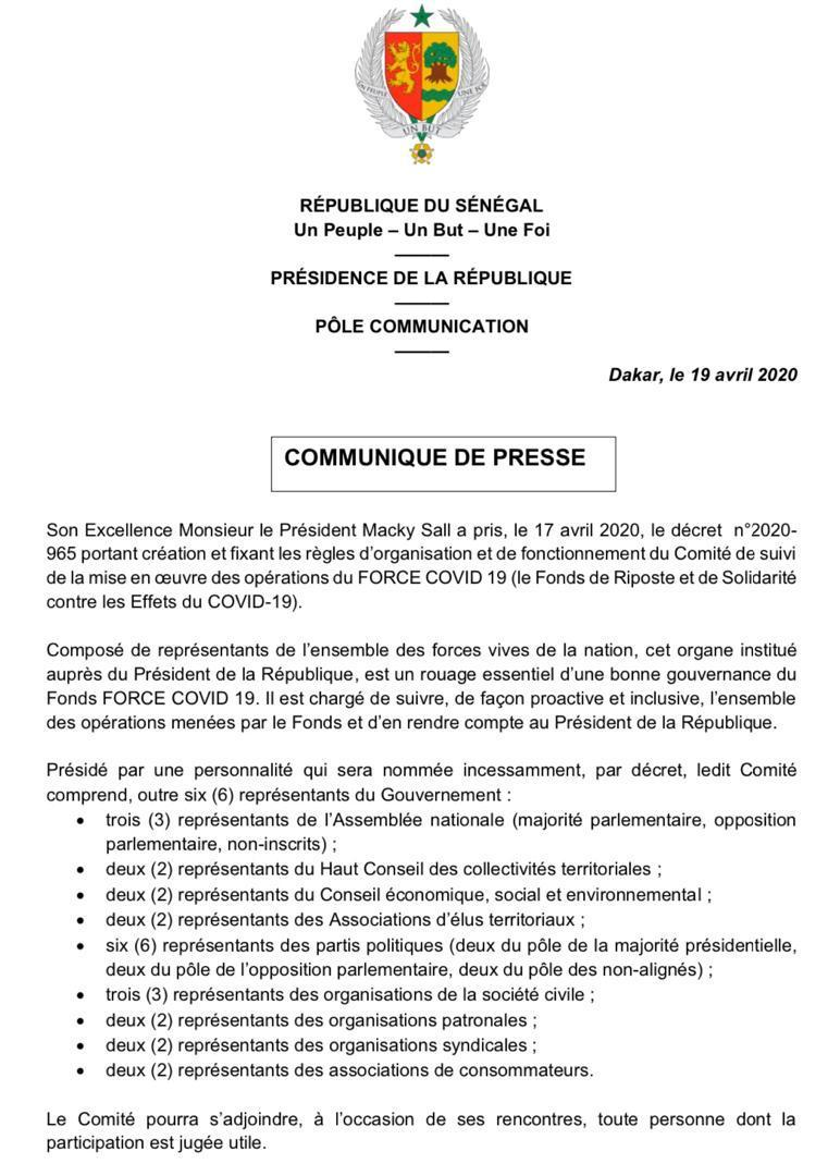 Comité de suivi de la mise en oeuvre des opérations de la force covid19 Sénégal.
