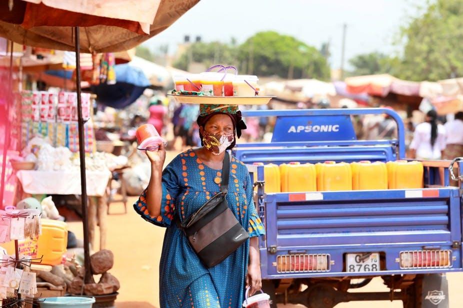 Au marché Adidogomé Assiyeye de Lomé le 17 avril 2020. AFP