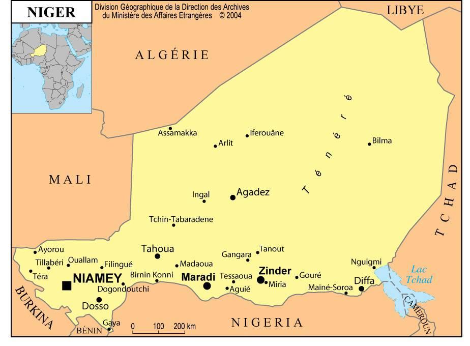 Carte de la ville du Niger.