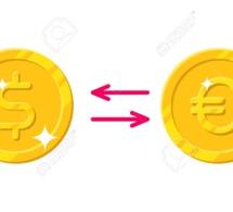 Transactions en dollars / euros.