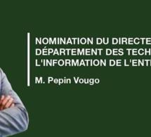 nomination du directeur par intérim du département des technologies de l'information de l'entreprise