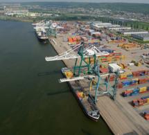 Port de Rouen, France : déchargement de cacao en vrac en provenance de Cote d'Ivoire.